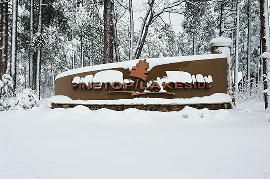 Pinetop-Lakeside Sign Covered with Snow