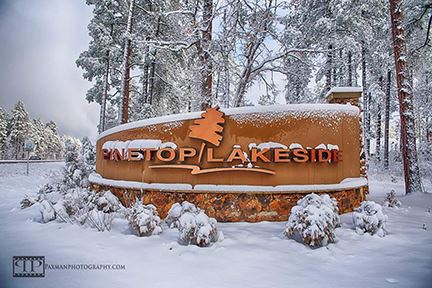 Pinetop-Lakeside Sign in the Snow